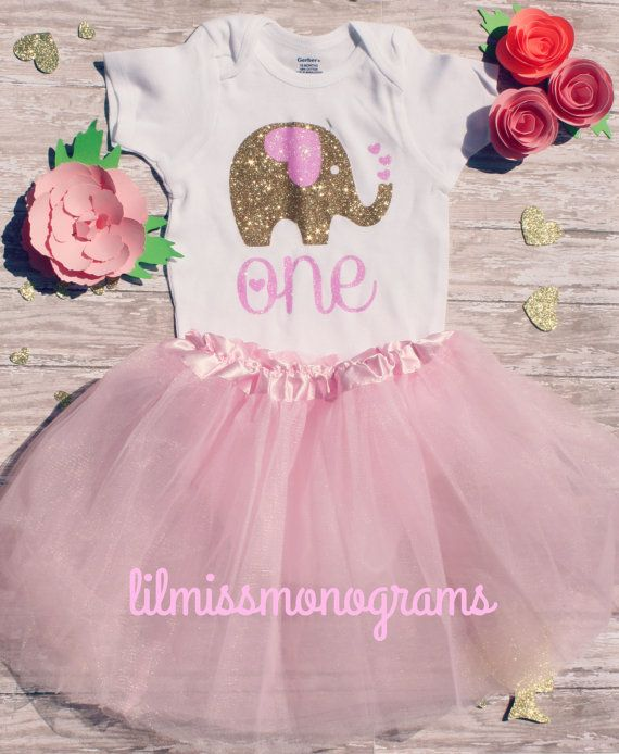 Available in sizes from 6/9 to 24 months, this sparkly short sleeve onesie is perfect for baby girls first birthday. Colors are customizable. I