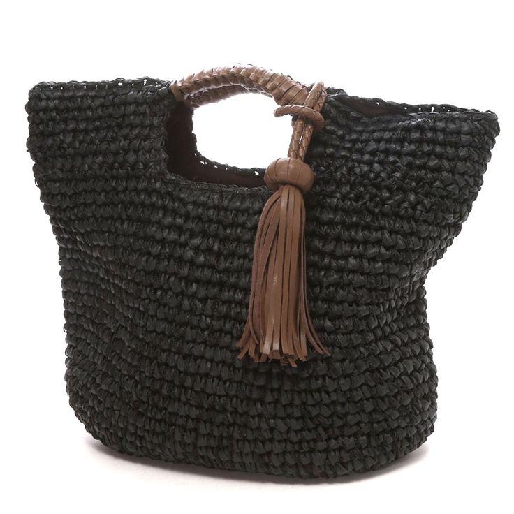 カシュカシュ cache cache タッセルチャーム付ミックスニットバッグ(ブラック) -靴とファッションの通販サイト ロコンド
