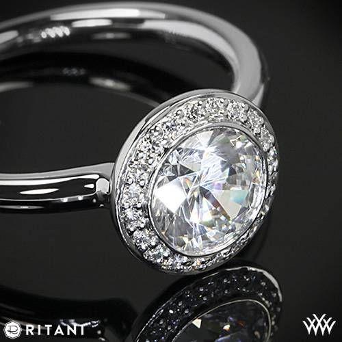 18k White Gold Ritani 1RZ1851 Bezel Set Halo Solitaire Engagement Ring RingsEngagement BandsEndless LoveBrilliant