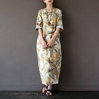 В китайском стиле винтаж цветочный печати женщины длинные dress хлопок белье свободный свободный лето maxi dress brand design халат femme a037