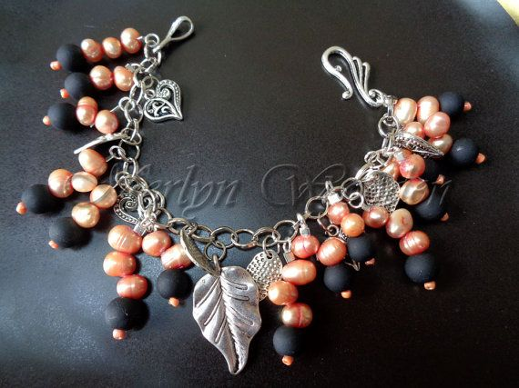 Bracelet charms glass beads and Freshwater Pearl by MerlynWooden