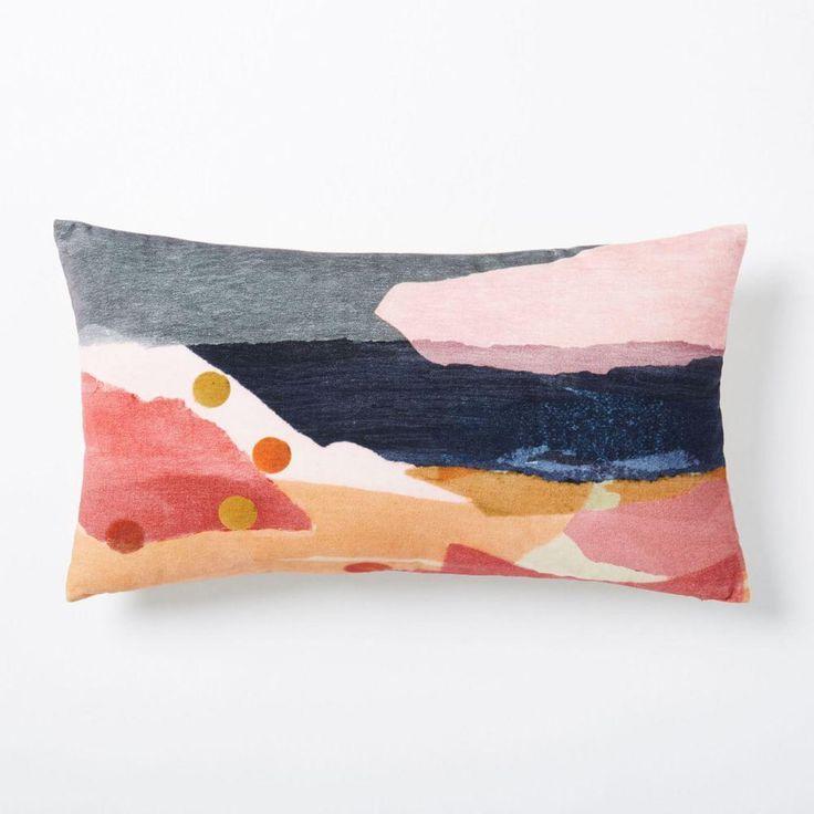 Velvet Desert Landscape Cushion Cover - Peach Blush