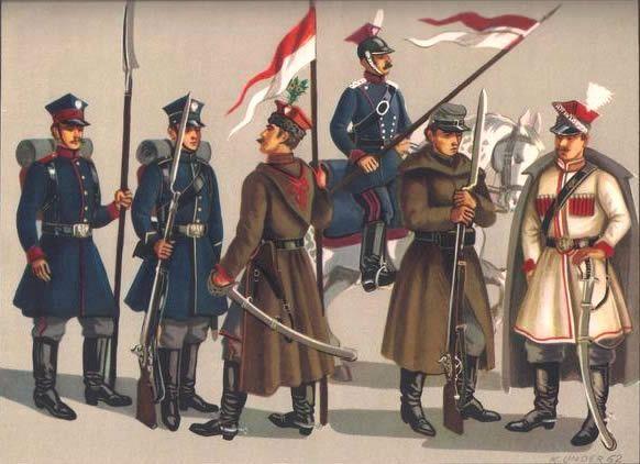 Wojska Powstańcze, od lewej: kosynier, strzelec, krakus, ułan, piechur, kawalerzysta (fot. Powstanie Styczniowe, Stanisław Strumph Wojtkiewicz, Nasza Księgarnia 1973)