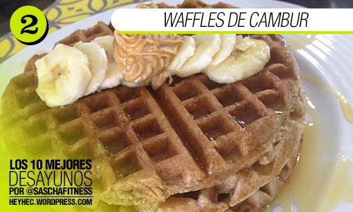 Waffles de cambur  Ingredientes: – 1/2 Taza de harina de avena, si eres intolerante al gluten utiliza de almendras – 1 cambur/banana – 1 huevo+1 clara – 1/2 Cucharadita de polvo para hornear y otra de bicarbonato – 1 Cucharadita de canela – 2 Sobres de stevia – 2 Cucharadas de aceite de coco – 1 Cucharada de leche de almendras, si no tienes puedes usar leche descremada porque en realidad es muy poca cantidad  Preparación: Licúa todos los ingredientes y listo