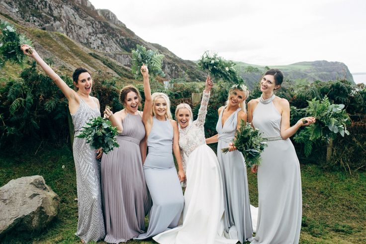 Mis Match Grey Bridesmaid Dresses - Dale Weeks Photography | Stylish Welsh Wedding | Emma Beaumont Wedding Dress | Mis-Match High Street Grey Bridesmaid Dresses | Green Foliage Bouquets