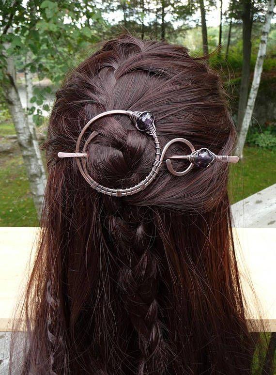Hair Barrette Stick Copper Shawl Pin Scarf Pin Hair Slide