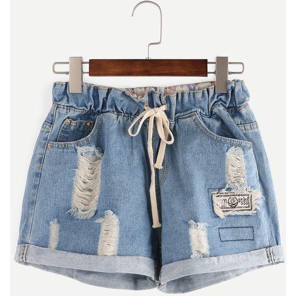 Ripped Drawstring Waist Rolled Hem Blue Denim Shorts (250 ARS) ❤ liked on Polyvore featuring shorts, bottoms, blue, short jean shorts, distressed denim shorts, destroyed denim shorts, destroyed shorts and torn shorts