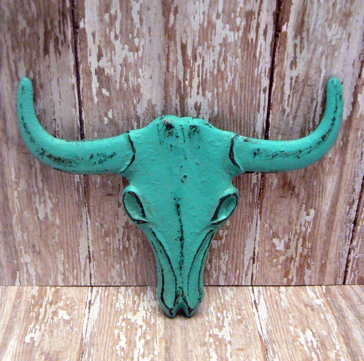 Longhorn Cast Iron Cow Skull Aqua Turquoise Western Accent Rustic Boho Bathroom Southwestern Wall Decor Bull Head Country Western  Man Cave by TamarasTreasureTrove on Etsy https://www.etsy.com/listing/499166365/longhorn-cast-iron-cow-skull-aqua