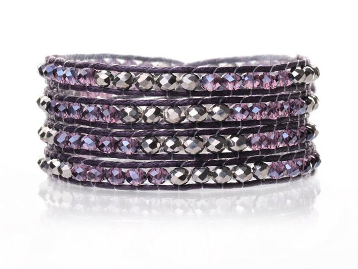 Purple Crystals Wrap Bracelet Hand Knotted Woven Multilayer 4mm Round Crystal Beads. Amethyst Purple and Silver Color Crystal Beads are Manmade and 4mm Mixed Color. Purple dark wax cord perfectly hand knotted with a black thread. The closure has a Mother of Pear shell button. Length(inch): 27.6 (four Layers Aprox) & Weight(g): 18. You will love it!. Same or next day shipping.