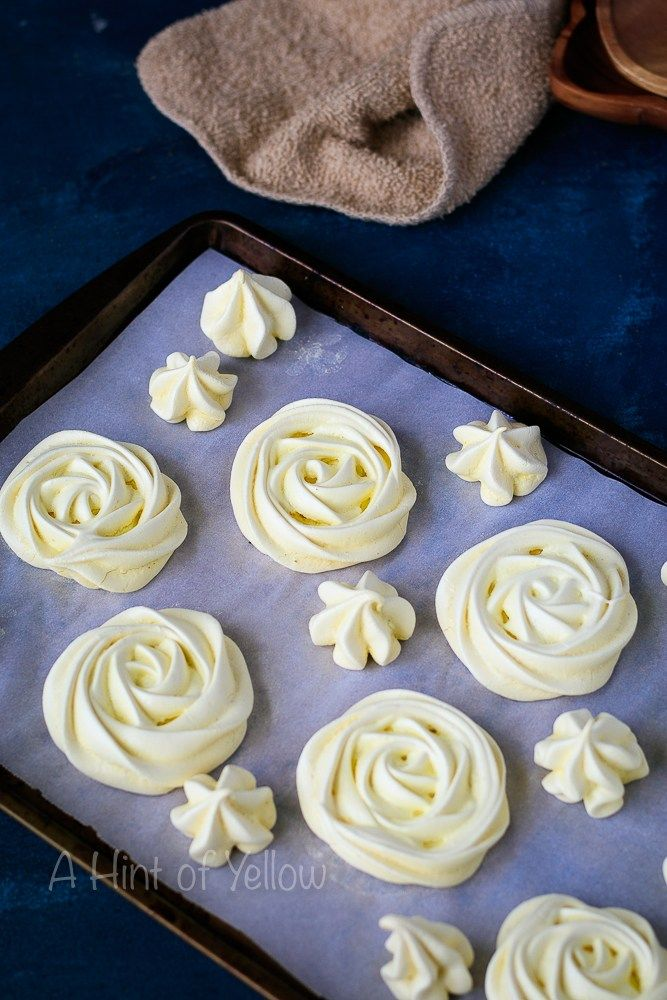 Meringue Roses/ Meringue Cookies - clouds of heavenly sweetness. Crispy on the outside and soft and gooey in the middle. Meringue is easier than it looks!