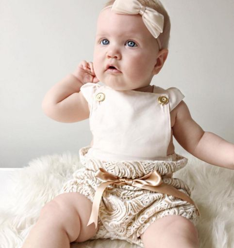 Handmade Baby Clothing - Bloomers by Eighteen Fifty One, Romper by Feeling Peachy Creations