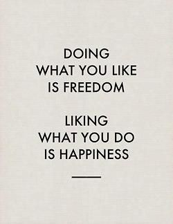 Doing what you like is freedom // Liking what you do is happiness ... Words to live by!