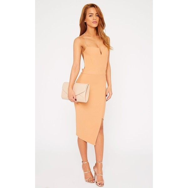 Raye Camel Cross Back Asymmetric Dress ($25) ❤ liked on Polyvore featuring dresses, camel, asymmetrical cocktail dress, night out dresses, white dress, going out dresses and spaghetti strap dress