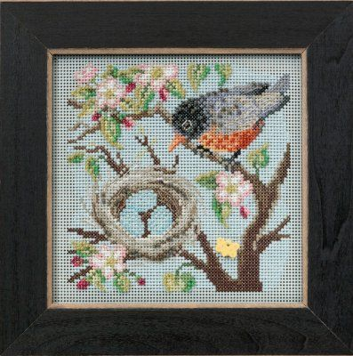 Spring Robin – Beaded Cross Stitch Kit