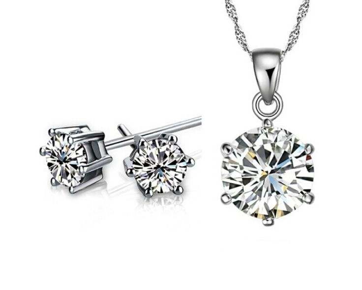 $9 for a Simulated Diamond Necklace with Stud Earrings