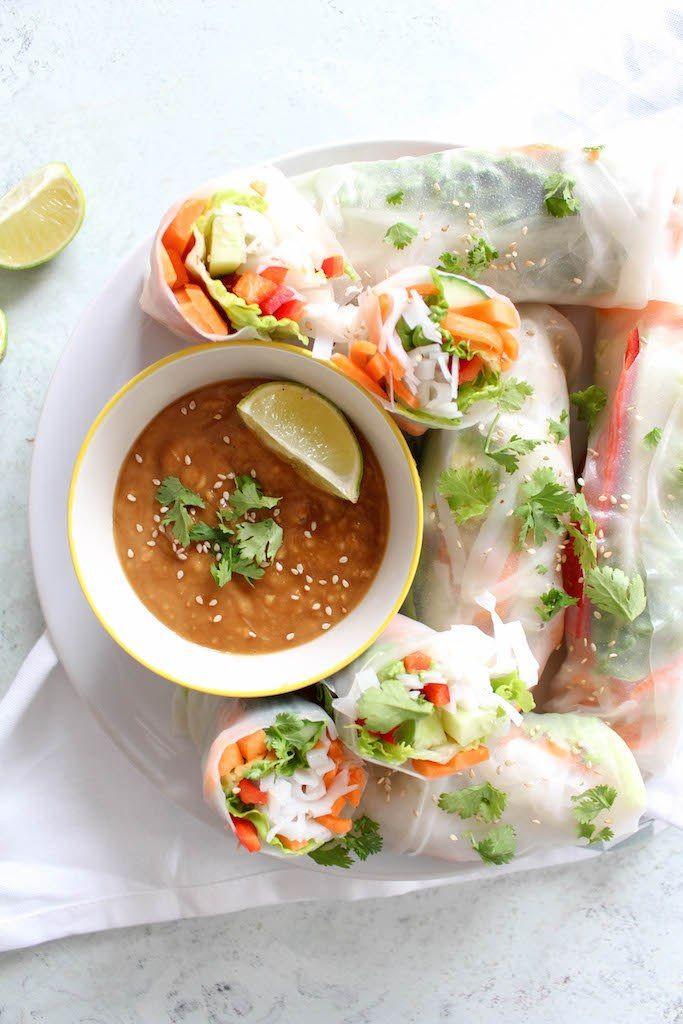 Thai Summer Rolls with Peanut Dipping Sauce - vegetarian, plant based, vegan, gluten free, refined sugar free - heavenlynnhealthy.com