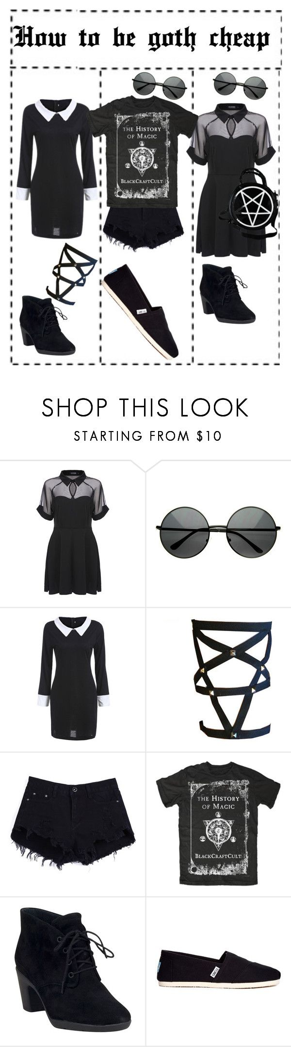 """☂How to be goth without much money☂"" by outcast-tips ❤ liked on Polyvore featuring Clarks, TOMS and marcyot"