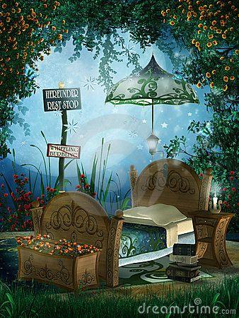 Blue fantasy bedroom by Unholyvault, via Dreamstime