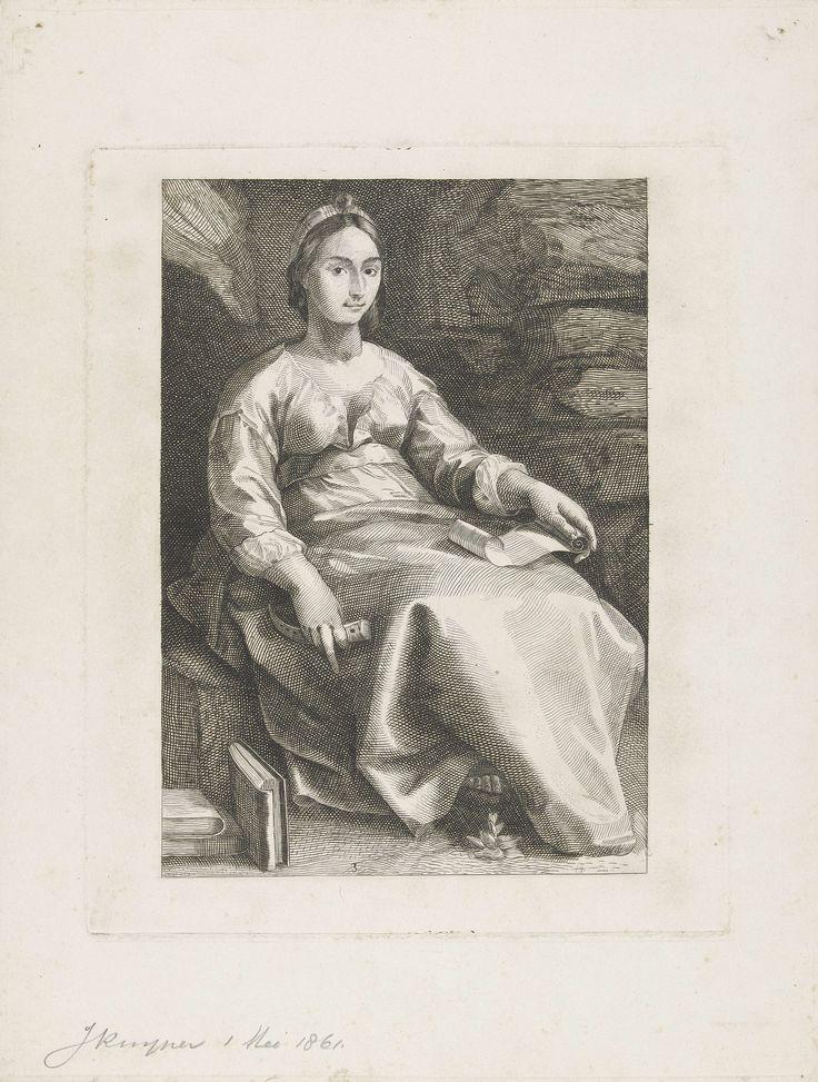 J. Kuyper | De muze Melpomene (naar Goltzius), J. Kuyper, 1861 | Een zittende vrouw met een fluit in haar rechterhand en een rol papier op haar schoot. Naast haar liggen drie boeken en voor haar ligt een bloem.