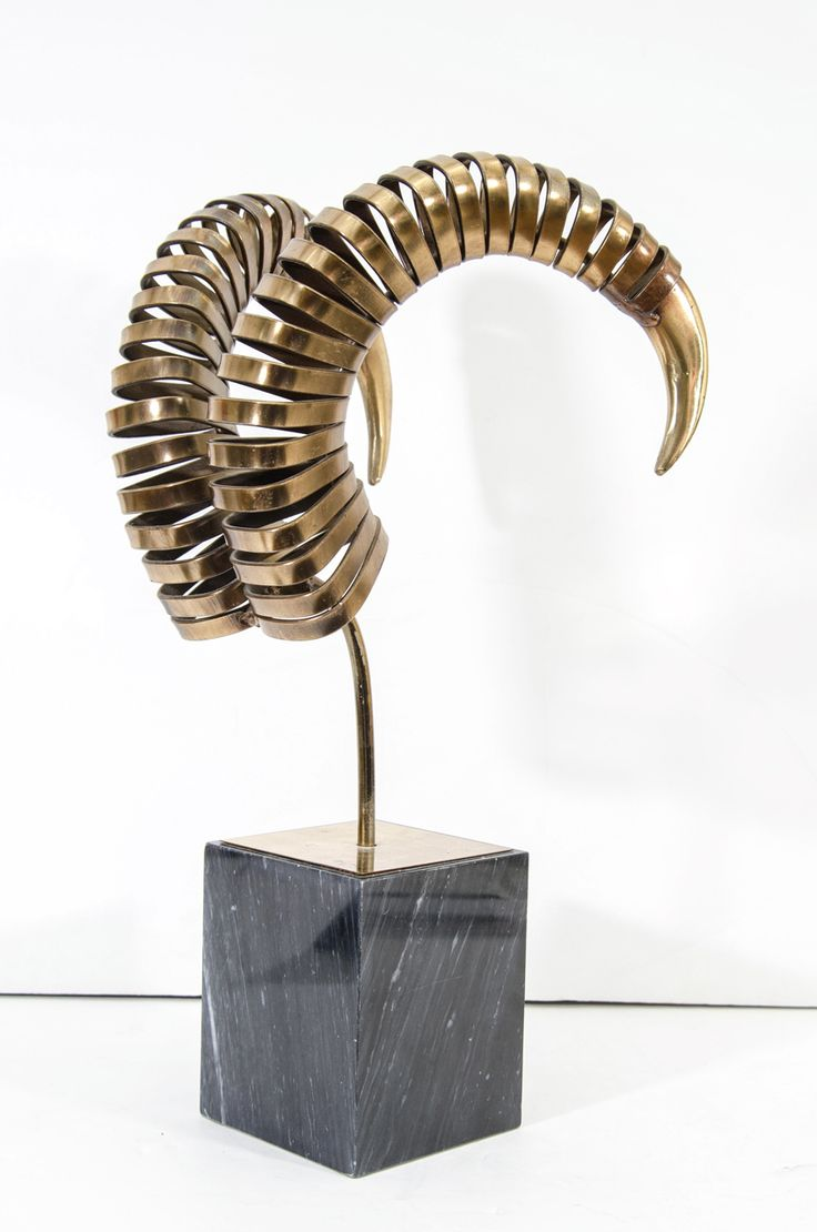 1stdibs.com   Vintage Brass Ram's Horn Sculpture by Curtis Jere