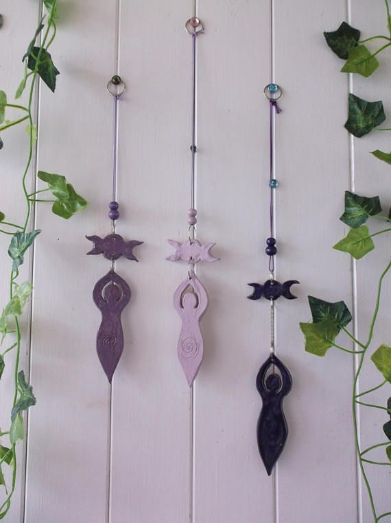 Hand Crafted Moon Goddess Triple Moon Wicca Wiccan Hanging