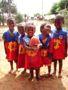 Rocking it in Mozambique - Aussie Rules styles. Good to see the mighty Roy Boys investing in a new generation of fans...