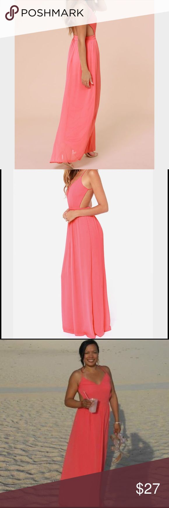 Lulu's Backless Coral Maxi Dress This gorgeous Lulu's Coral Backless Maxi Dress is perfect anytime.  Sophisticated and sexy at the same time!  Worn once to a  beach wedding. *Shop my closet for discounts on bundles* Lulu's Dresses Maxi