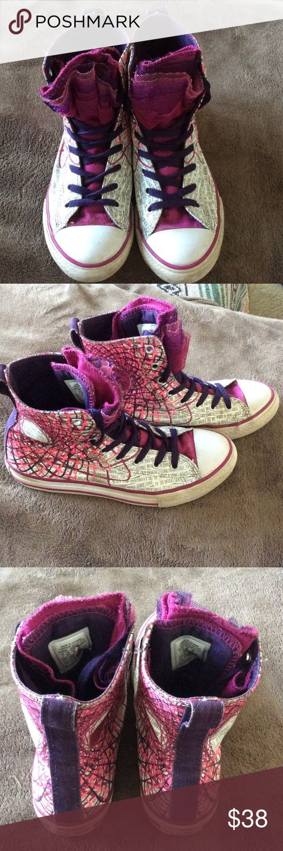 Girls Converse high tops Awesome pair of graphic print high tops with layered tulle tongues attached on each side with elastic.  Easy to slip on and go!  Light wear--some gum on sole.  Should fit a women's 6.  No box--price firm. Converse Shoes Sneakers