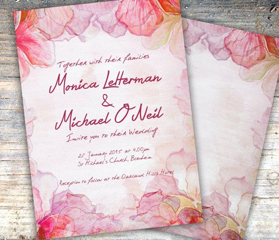 Magenta and Pink Floral Watercolor Wedding by SixDaysCreations