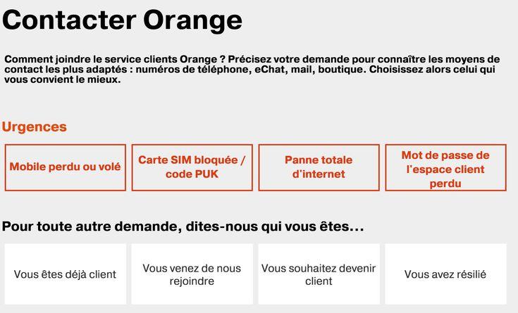 Aperçu de la page de contact orange