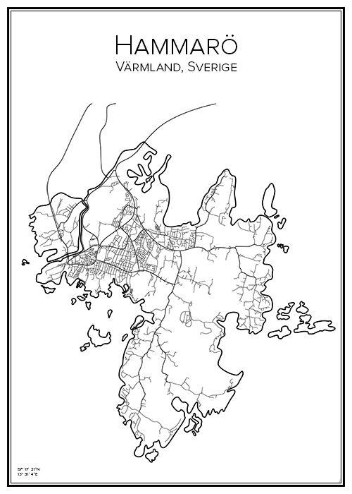 Hammarö. Värmland. Sverige. Karta. City print. Print. Affisch. Tavla. Tryck.