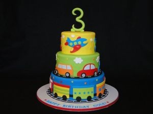 Airplane and travel themed birthday cake goes great with  birthday return gifts.