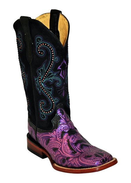 Ferrini Women's Purple Embossed Square Toe Cowgirl Boots