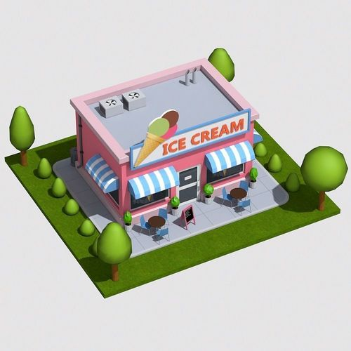 Low Poly Ice Cream Shop | 3D Model