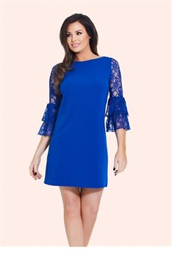 Jess Wright Cobalt Shift Dress | Sistaglam Celebrity Clothing  £55.00 This electric blue shift dress is a perfect mix of cute and classy. Features a round neckline and frill sleeve. A pair of opaque tights and high heeled Mary Janes will add a 60s twist to the look.   Color: Cobalt blue/black