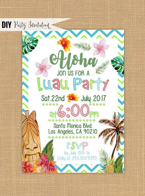 Best 25 Luau birthday invitations ideas – Hawaiian Birthday Party Invitations