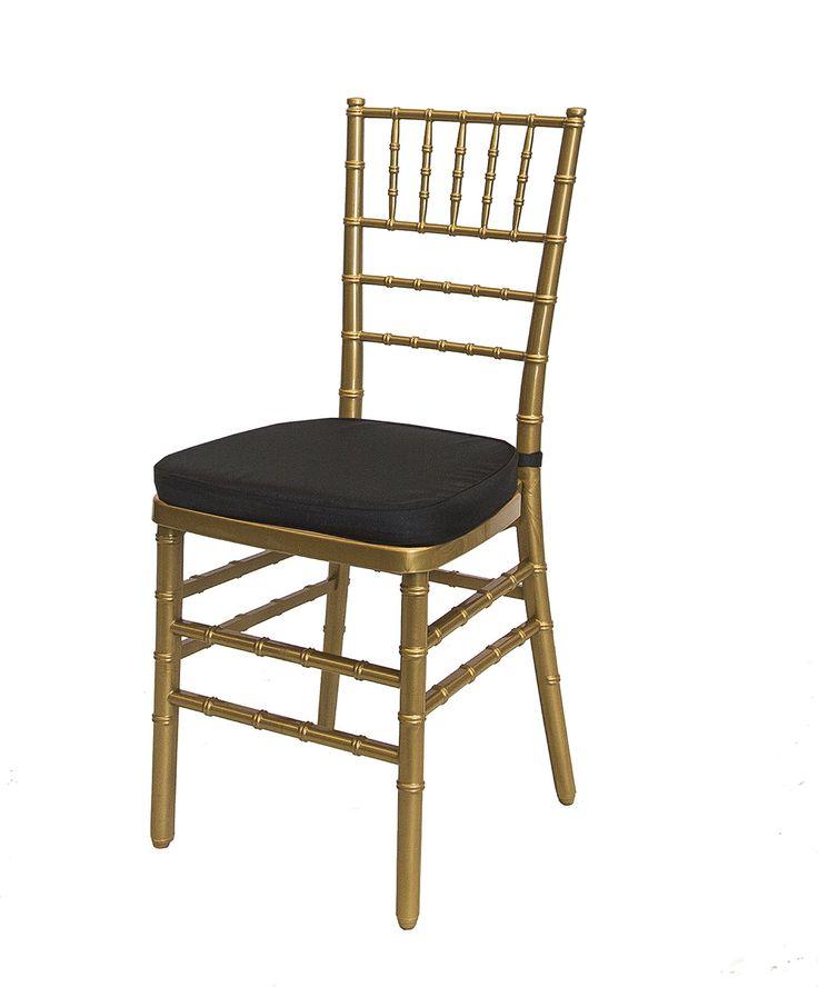 Gold Tiffany Chair Black Cushion - South Coast Party Hire