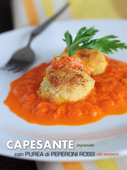 Capesante impanate con purea peperoni rossi allo zenzero