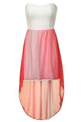 pink strapless jewel dip hem dress