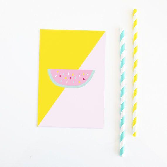 Watermelon postcard, stationary