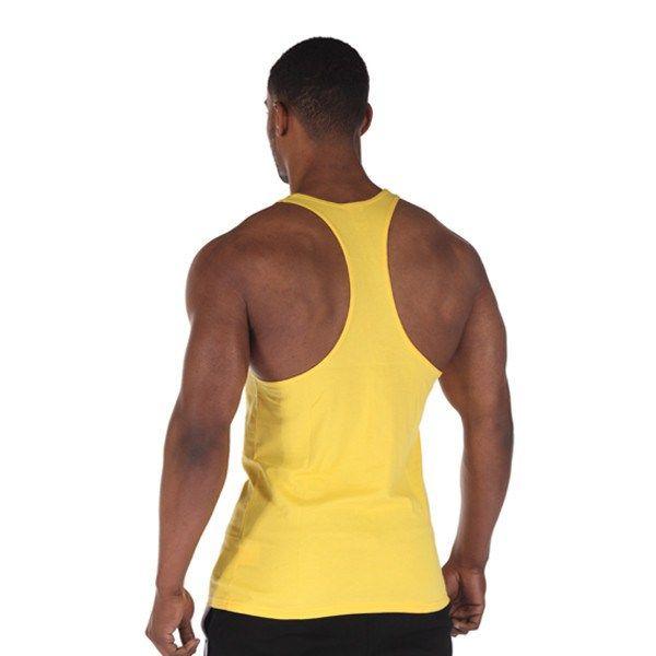 Gyúrós edző trikó férfi feliratos sárga back1 www.edzotriko.hu