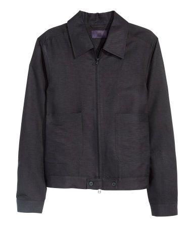 H&M // LINEN BLEND BLACK JACKET