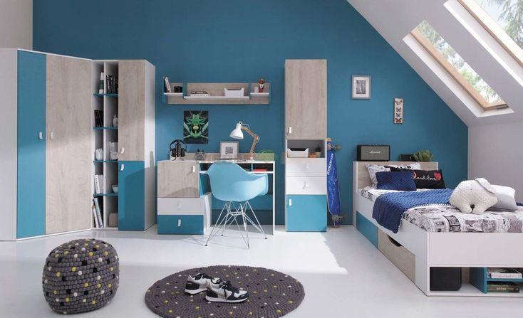 Sypialnia młodzieżowa Planet A biały lux + dąb + morski z biurkiem i szafą narożną - Meblar - sklep meblowy Meble BIK