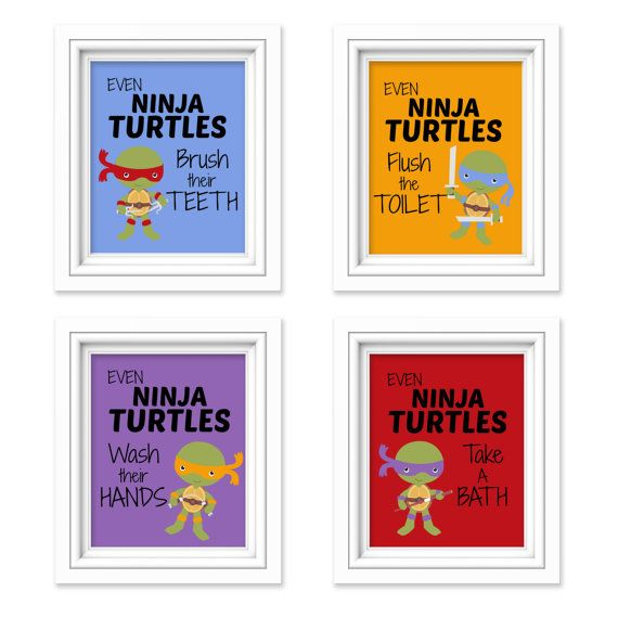 Ninja Turtles Bathroom Prints - These fun and attractive signs are a great way to remind your little Ninja Turtle about what needs to get