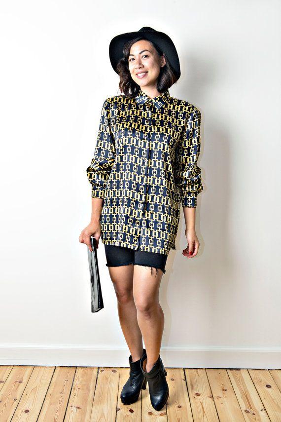 Black & gold chain print blouse by CirkusVintageCph on Etsy