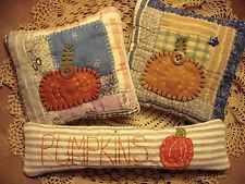 Trio Tiny Primitive Rustic Folk Art Pumpkin Halloween Pillow Bowl Fillers