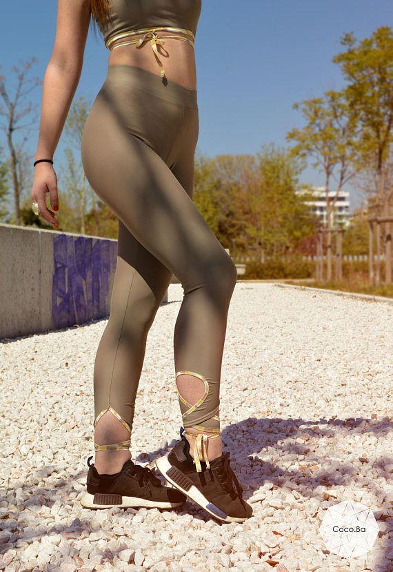 Beige Leggings Yoga Leggings Women Leggings Yoga Leggings