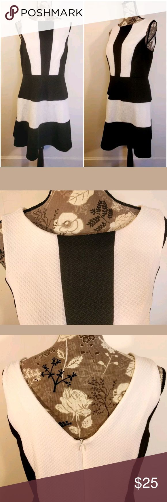 Womens Dress Size 12  Sleeveless?Lovely Texture Womens Dress  Size 12  Sleeveless?  Lovely Textured Fabric  Zip up V Back  Classic Black and White  Very Flattering  Great Under a Blazer or Sweater for Work and Then Off to an Evening Out  Measurements Available Upon Receipt  SMOKE FREE HOME Dresses