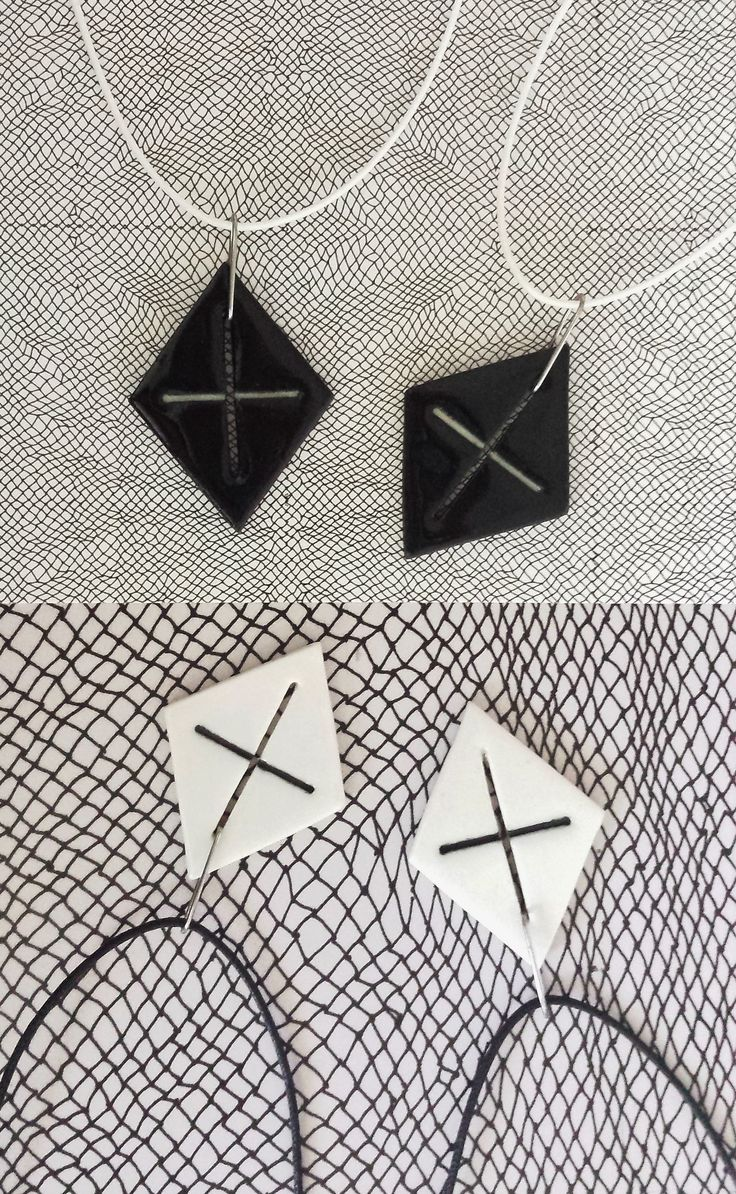 Crisply cut, and minimal (but by no means boring). With high contrast in black+white, and high shine these pendants will go with deep, and true colours the best.