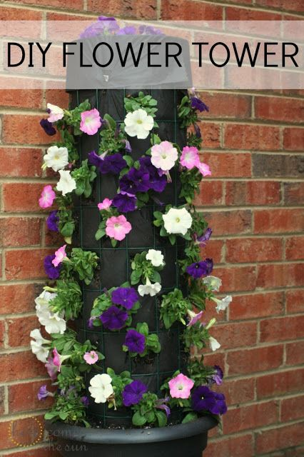 DIY Flower Tower - I like this idea better than those weird topiaries, partly because I could cover it in purple and gold flowers. But also because I have all the supplies, other than the flowers and soil.